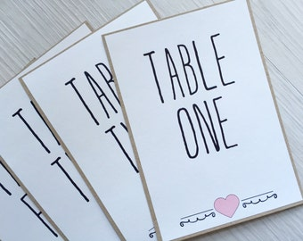 Wedding table name or number cards - blush and kraft