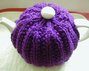 Hand Knitted Tea Cosy In Aran Colour Purple