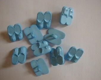 10 blue slipper buttons