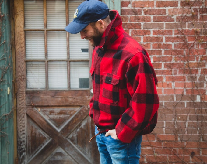 FREE SHIPPING - Vintage Men's Medium / Women's Woolrich Wool Jacket with Red Buffalo Plaid Pattern / Made in USA / Lumberjack Canadiana