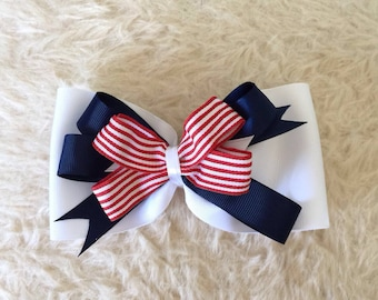 4th of July Hair Bow - Large Red White Blue Hair Bow - Patriotic Bow