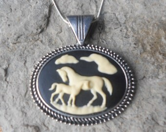 """Choose Black or Brown - Mother Horse and Foal Pendant Necklace--  2"""" long---.925 plated 22"""" Chain - Pony - Great Quality"""