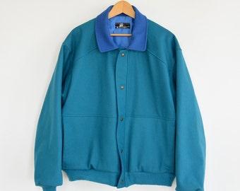 Pendleton Pure Wool Jacket Coat Lobo by Pendleton Bomber Jacket Men's XL Turquoise and Blue Vintage 80's