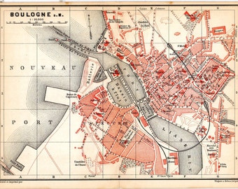 1887 France Map Boulogne Antique Map France Geography Cartography Atlas Maps