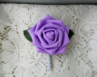 purple boutonniere, classic boutonniere, purple and silver boutonniere, groomsmen accessories, Lavender boutonnieres, wedding boutonniere