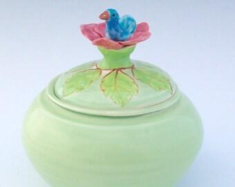 Jelly Bean Jar with Blue Bird