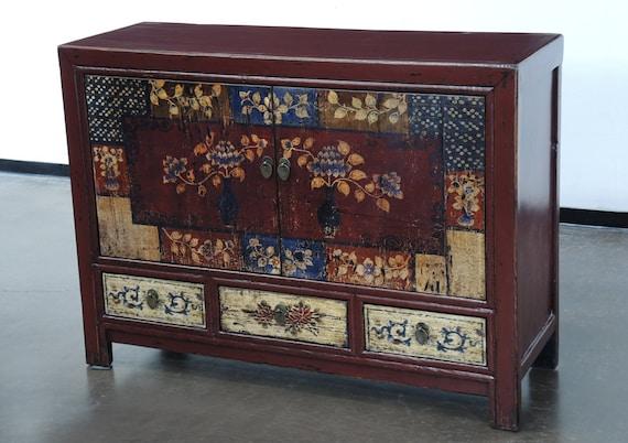 clearance sale hand painted vintage mongolian sideboard. Black Bedroom Furniture Sets. Home Design Ideas