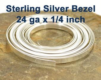 "24ga x 1/4"" Sterling Silver Bezel Wire - 24ga x 1/4 Inch - Choose Your Length"