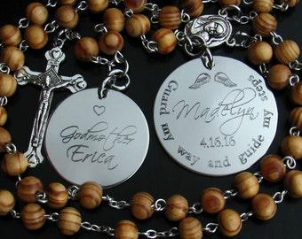 Custom Rosary. Personalized Baby Rosary. Custom Catholic Rosary. Baptism Gift for Godparents. Godparents Gift. Baptism Boy. Engraved. B-1