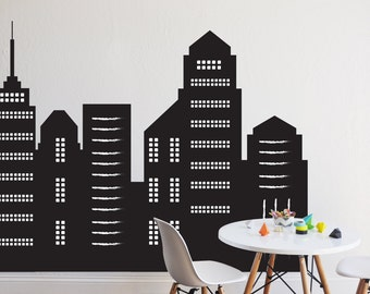 Wall Decal Sky Scrapers -  CHALKBOARD - wall decal - chalkboard wall decal - removable chalkboard wall decal - Wall Sticker Room Decor
