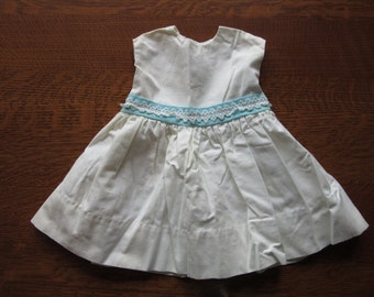Vintage Baby Dress, Vintage White Baby Dress, Toddler, Turquoise, Lace, Easter, Girls, Childrens Clothing, Toddler Cotton Dress, 12-18  mos.