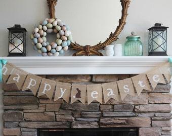 Burlap Easter banner/Happy Easter garland/ Easter banner/ Easter bunting/ Easter sign/ Easter decorations/ Easter photo prop