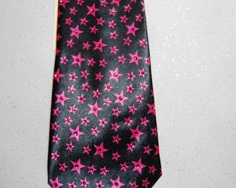Pink stars rhinestone necktie