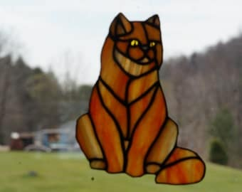 Fluffy Stained Glass Cat