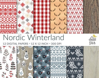 Nordic Pattern Digital Papers - Winter scrapbooking paper - 300 dpi - Christmas Winterland - instant download - commercial use