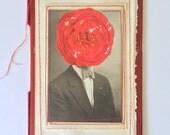 Camellia Flower Head Portrait, Collage (Uncle Sam)