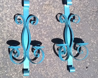 Metal Wall Sconces for Candles ~  Painted Turquoise Color ~ shabby ... paint is peeling