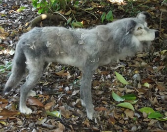 Made to order needle felted Wolf, Custom needle felted Animal Sculpture