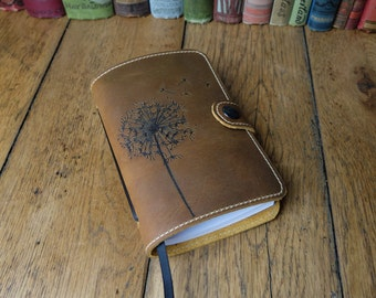 Leather notebook sketchbook travel journal with pyrography dandelion clock design