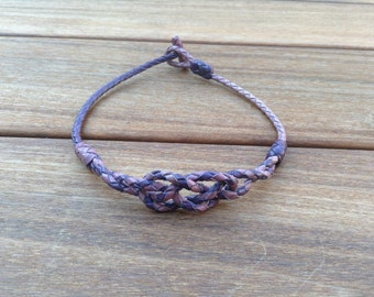 Hand knotted and braided purple kangaroo leather necklace