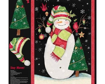 Christmas Stay Warm Snowman Fabric Panel From Springs Creative