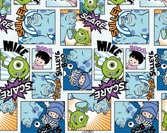 Disney Fabric Monsters Inc Fabric Sully Mike Fabric FLANNEL From Camelot