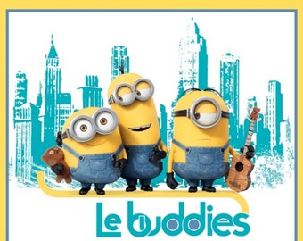Per Panel, Minions Le Buddies Fabric Panel Yellow/Turquoise From Quilting Treasures