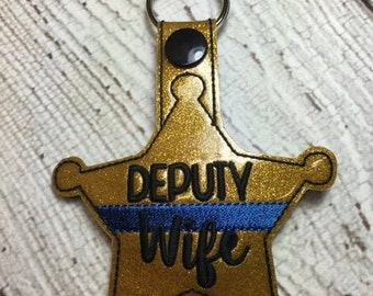 Deputy Wife - Sheriff - POLICE - Thin Blue Line - In The Hoop - Snap/Rivet Key Fob - DIGITAL Embroidery Design