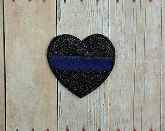2 Inch Blue Line Heart Feltie- Police - Law Enforcement Support - In The Hoop - DIGITAL Embroidery Design