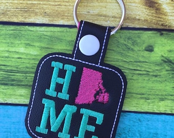 Rhode Island HOME  - State- The Hoop - Snap/Rivet Key Fob - DIGITAL Embroidery Design