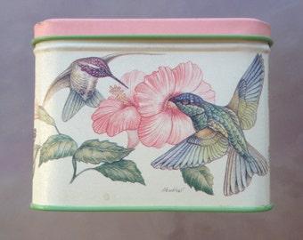 Hummingbird Tin, Potpourri Press Tin, hummingbird decor, Hummingbird box, vintage tin,