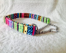 Pink and Blue Aztec / Tribal Design   Half Check / Martingale Dog Collar