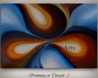 Large Wall Art Oil ABSTRACT PAINTING, Red Wall Decor Wave Blue and Cream Abstract Canvas Painting Contemporary Art Home Decor, Wall Hanging