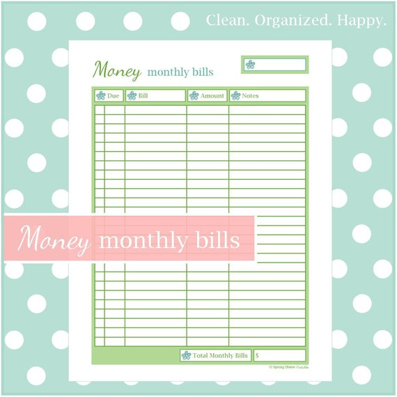 monthly bill checklist 1 document instant download home