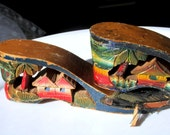 Wood Carved Shoes Beach Village Destash Craft Repurpose Upcycle Vintage Collectible Gift Item 2042