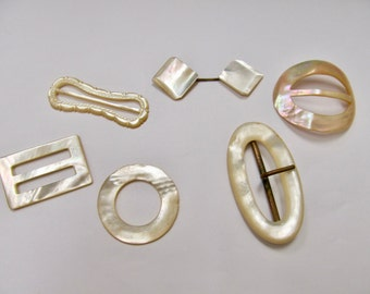 Vintage 6pc Lot of Mother of Pearl Carved Buckles and Pin Item W # 103