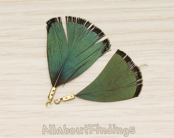 PDT1495-07 // Green Fade Away Two Tone Colored Imitation Wild Bird Tassel Type Feather Pendant, 2 Pc