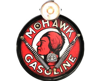 Mohawk Gasoline Motorcycle headlight antique style wall sign Lighted