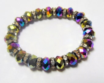 Blingy stretch bracelet with faceted Aurora Borealis beads & crystal spacers