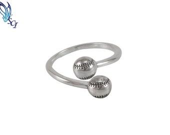 Softball Sports Ring Sterling Silver, Softball Ring, Softball Jewelry, Sports Jewelry, Open Sports Rings, Team Rings, Silver Rings, SR221