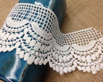 Cotton lace/Costume lace/Venetian Lace/Bridal Lace/Lace/Trims/3 ich lace Natural white  scallop edge Venice Lace Trim Vintage/bridal/wedding