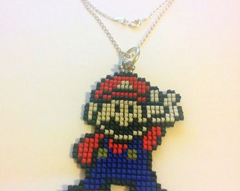 Delica glass Beaded Super Mario Charm / Pendant Necklace seed beads