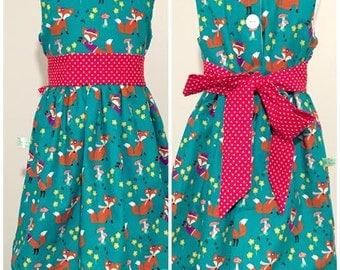 Girl's Dress, Girls Fox Dress costume, Fox Dress, Baby Girls Woodland Animal Dress, 1st Birthday Woodland Animal Party Dress