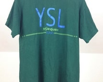 Vintage green YSL Yves Saint Laurent PARIS t-shirt Size.XL