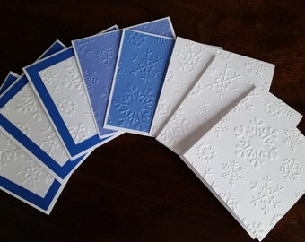 """Christmas Embossed Mini Note Cards; 3"""" x 3"""" Cards; Stationery Set; Gift Enclosures; Christmas Theme; Winter Snowflakes"""