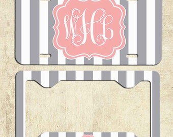 Monogram License Plate - Grey Stripe License Plate Frame - Personalized License Plate - Car Tag - Front Plate