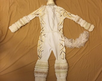 White Cat Costume - Child's Large - Unitard/Wig/Warmers/Tail