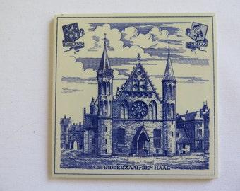 Blue and White Tile//Decorative Wall Tile//Vintage Dutch Tile//Ridderzaal-Den Haag Tile