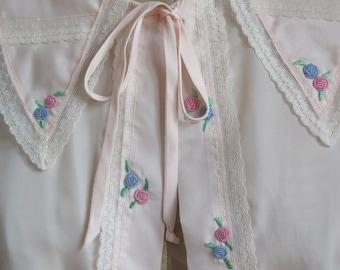 Vintage Bed Jacket//Satin Bed Jacket//Vintage Lingerie