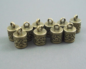 6MM End Cap, TEN Bronze Caps for Leather or Cord (CAP6-005)